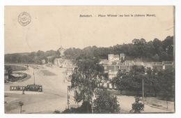 Watermael Boitsfort Place Wiener Château Morel Au Loin Carte Postale Ancienne Tram Tramway - Watermael-Boitsfort - Watermaal-Bosvoorde