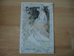 Carte Art Nouveau Gaston Noury Femme  Moyen Age Chausson - Künstlerkarten