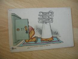 Illustrateur  Guillaume  Un Homme Prevoyant A Toujours Son Coffre Fort Rempli - Künstlerkarten