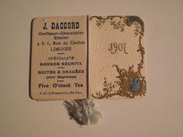 J. DACCORD, Mini Calendrier, 1907, Confiseur Chocolatier, Limoges - Petit Format : 1901-20