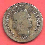 10 Rappen , SUISSE , Cupro-Nickel , 1881 B , N° KM # 27 - Suisse