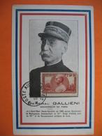 Carte Maximum France  1940  N° 456  Au Profit Des Oeuvres De Guerre - Joseph-Simon Galliéni - Maximumkaarten