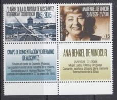 2.- URUGUAY 2015 AUSCHWITZ 1945 - 2015 - WW2 (II Guerra Mundial)