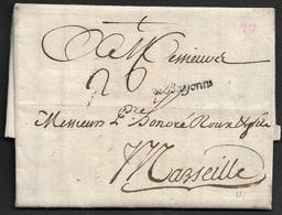 1757 - LAC - DE BAYONNE - Pour MARSEILLE - LENAIN # 5 - Marcophilie (Lettres)