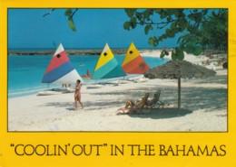Bahamas Beach Scene Sail Boards, Postally Used C1990s Vintage Postcard - Bahamas
