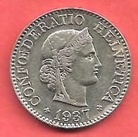 10 Rappen , SUISSE , Cupro-Nickel , 1937 B , N° KM # 27b - Zwitserland
