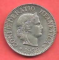 10 Rappen , SUISSE , Cupro-Nickel , 1938 B , N° KM # 27b - Suisse