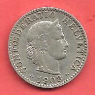 20 Rappen , SUISSE , Cupro-Nickel , 1908 B , N° KM # 29 - Zwitserland