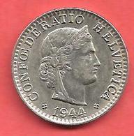 20 Rappen , SUISSE , Cupro-Nickel , 1944 B , N° KM # 29 - Suisse