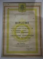 Ancien Diplome Militaire Belge D'excellent Chauffeur De Char Patton M 47 1956 - Documents