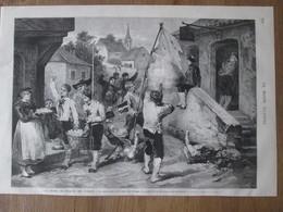 Gravure  1872 Les Fetes De PAQUES En Alsace   LA QUETE DES OEUFS     Dans Un Village - Vecchi Documenti