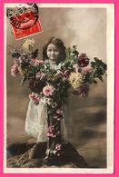 Portrait De Fillette - Fleurs - Photomontage - IRIS - 1907 - Portraits