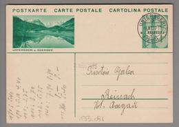 Schweiz GS Bildpostkarte Zu#133.056 übereinstimmend Unterägeri 1933-11-06 - Entiers Postaux