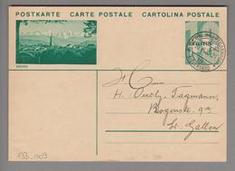 Schweiz GS Bildpostkarte Zu#133.009 übereinstimmend Bern 1935-06-20 - Entiers Postaux