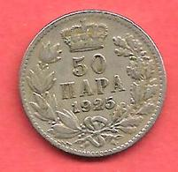 50 Para , YOUGOSLAVIE , Nickel-Bronze , 1925 , N° KM # 4 - Yugoslavia