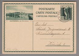 Schweiz GS Bildpostkarte Zu#122.026 übereinstimmend Rapperswil 1931-07-02 - Entiers Postaux