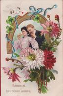 Carte Fantaisie Fantasiekaart  Champagne Amour Love Romance Romantiek Couple Pigeon Duif White Silverdust White Dove - Couples