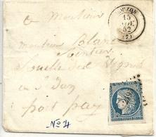 France Pli 1852 Cérès 25 Cts - 1849-1850 Cérès