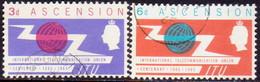 1965 ASCENSION SG #87-88 Compl.set Used ITU Centenary - Ascension (Ile De L')