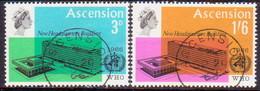 1966 ASCENSION SG #97-98 Compl.set Used WHO Headquarters - Ascension (Ile De L')