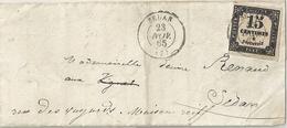 France Pli Affranchi Taxe 15 Centimes - 1859-1955 Oblitérés