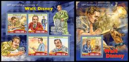 Sierra Leone 2016, Walt Disney, Klb + S/s, MNH - Célébrités
