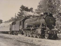 Très Belle Photo Ancienne Grèce Greece Train Gare Locomotive  ! Tampon Photographe - Stations With Trains
