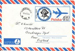 Poland Postal Stationery Cover Sent To England Warszawa 13-4-1973 Mikolaj Kopernik - Stamped Stationery