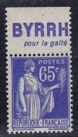 PUBLICITE: TYPE PAIX 65C BLEU BYRRH-pour La Gaité NEUF** ACCP964 C10E - Publicités