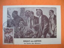 Carte Maximum France 1941 N° 489 Au Profit Des Prisonniers De Guerre -Bruay-en-Artois  La Sortie Des Mineurs (surcharge) - Cartes-Maximum