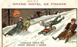 CURACAO GRAND HOTEL DE FRANCE TRIPLE SEC MARIE BRIZARD ET ROGER SOME SMALL CRACKS SEE SCA  Advertisement   Advertising. - Publicité