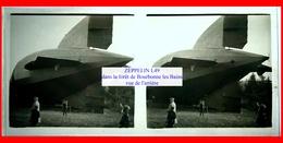 Dirigeable ZEPPELIN L49 - ( Arrière) Abattu à Bourbonne Les Bains Dans La Forêt 1917 - Vue Stéréoscopique - Plaques De Verre
