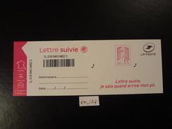 "2016 MARIANNE CIAPPA KAWENA A VALEUR PERMANENTE LETTRE SUIVIE ROSE AVEC MENTION "" 20g "" ADHESIF NEUF** 4ème VERSION - France"