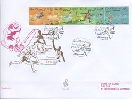 SAN MARINO - FDC VENETIA  2004 - OLIMPIADI - STRISCIA  - VIAGGIATA - FDC