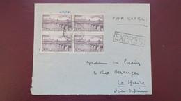 Lettre Par Exprès De La Rochelle Affranchie Bloc De 4 Du N° 450 Pour Le Havre - Marcophilie (Lettres)