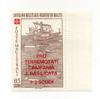 S.M.O.M. - 1981 - Pro Terremotati Campania E Basilicata - 1 Valore Con Bordo Di Foglio - Nuovo - Vedi Foto - (FDC13811) - Malte (Ordre De)
