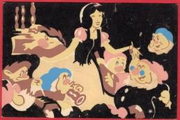-- CARTE VELOURS - BLANCHE NEIGE ET LES 7 NAINS - Walt-Disney Productions -- - Disney