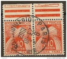 France-Taxe-N°91-Cachet Paris Distribution - Marcophilie (Timbres Détachés)
