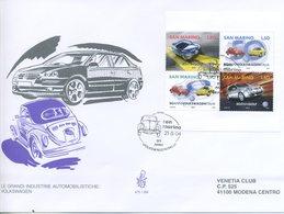 SAN MARINO - FDC VENETIA  2004 - VOLKSWAGEN - BLOCCO FOGLIETTO - VIAGGIATA - FDC