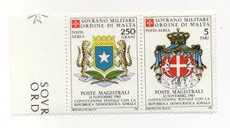 S.M.O.M. - 1984 - Convenzione Postale Con La Somalia - 2 Valori Con Bordo Di Foglio - Nuovo - Vedi Foto - (FDC13813) - Malte (Ordre De)
