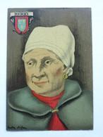 André Stéfan, Personnage Traditionnel, Coiffe, Berry - Künstlerkarten