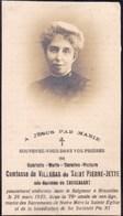 BRUXELLES Gabrielle Baronne De THYSEBAERT Comtesse De VILLEGAS 76 Ans 1925 Souvenir Mortuaire DP - Décès