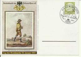1941  Postkarte Tag Der Briefmarke  Sonderstempel Hagen Michel: P241  12 Euro - Allemagne