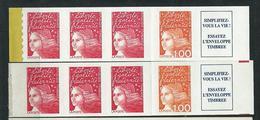 [27] Variété : N° 3085 + 3101 Bande De Carnet Rouge Vif Et Jaune-orange Au Lieu De Rouge Et Orange + Normal ** - Variétés: 1990-99 Neufs