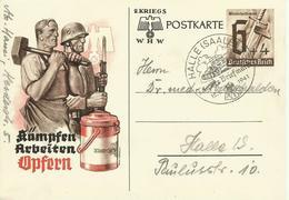 1941  Postkarte Kriegs WHW  Sonderstempel Halle (Saale) - Allemagne