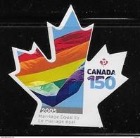 CANADA 2017 #3007i, CANADA 150th  MARIAGE EQUALITY  FLAG  DIE CUT - Booklets