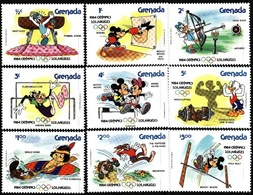 Grenada, 1984, Olympics Los Angeles, Disney Cartoons, 9 Stamps +s/s - Ete 1984: Los Angeles