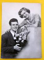 Coppia Innamorati Cesto Fiori Cartolina Bromofoto Vera Fotografia - Couples