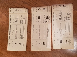 3 Tickets Colis Poste Automobile Rurale PAR  Neufs Même Numéro Pour Les 3 - Autres