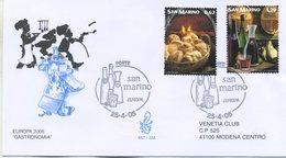 SAN MARINO - FDC VENETIA  2005 - EUROPA UNITA - LA GASTRONOMIA - VIAGGIATA - FDC